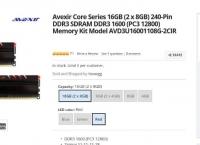 [newegg]Avexir Core Series 16GB (2 x 8GB) DDR3 SDRAM DDR3 1600(49.99/free)