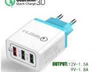 [알리] QC3.0 지원 3포트 휴대용 벽 충전기 ($2.84/무배)