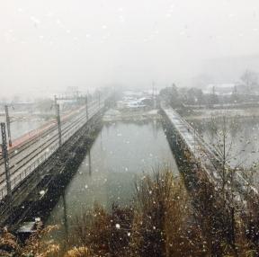 첫 눈 오는날 사무실에서 바라본 풍경~