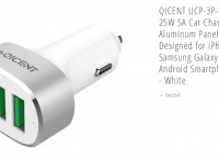 [neweggflash] QICENT- UCP-3P-WH 3 USB 25W 5A Car Charger Aluminum Panel ($4.99, Free)