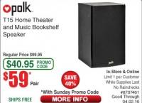 [frys] Polk T15 Home Theater and Music Bookshelf Speaker Pair - Black ($59/fs)