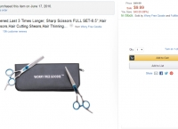 [amazon] (미용가위셑) Hand-Sharpened,Last 3 Times Longer, Sharp Scissors FULL SET ($9.99, 애드온상품)