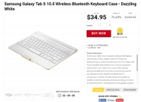 [shnoop] Samsung Galaxy Tab S 10.5 Wireless Bluetooth Keyboard Case - Dazzling White ($34.95, Free)