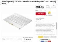[shnoop] Samsung Galaxy Tab S 10.5 Wireless Bluetooth Keyboard Case - Dazzling White ($34.95, Free)