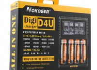 NOKOSER D4U 4 슬롯 LCD 만능배터리 충전기($21.99/무배)