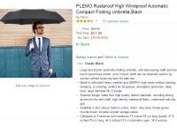 [amazon] (자동우산) PLEMO Rustproof High Windproof Automatic Compact Folding Umbrella,Black ($13.19, 프라임Free)