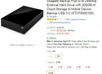 [amazon] Seagate Backup Plus 8TB Desktop External Hard Drive ($199.99/free)