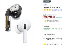 애플 에어팟 프로 정품 최저가입니다(260,770원 /무료)
