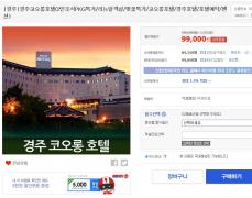 경주 코오롱 호텔 2인 조식포함 패키지 봄맞이 특가 (99000원 / 무배)