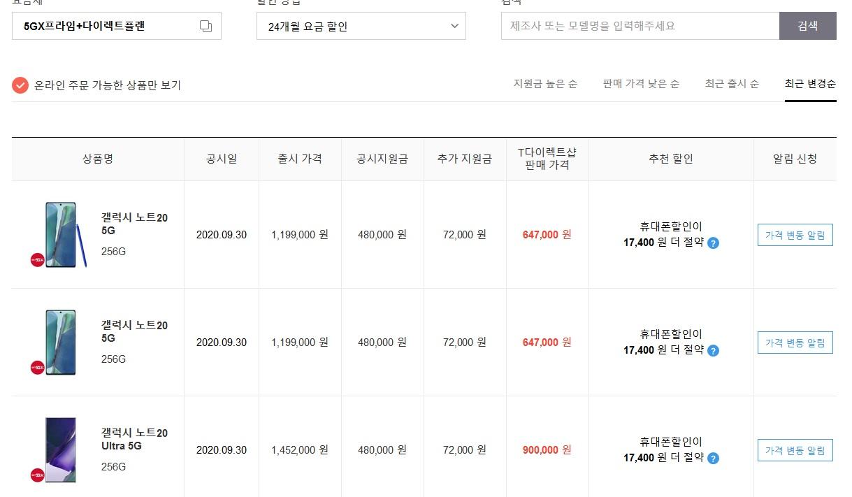 9월 30일 SK 공시지원금 변동현황.jpg