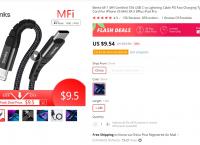 Benks MFi 인증 USB C to 라이트닝 케이블 $9.54/무배