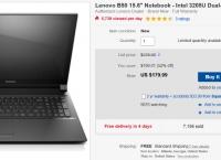 """끌올[ebay] Lenovo B50 15.6"""" Notebook - Intel 3205U Dual-Core - 4GB RAM - 500GB HDD - Win10 (179.99/무료)"""