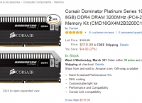 [amazon]Corsair Dominator Platinum Series 8x2GB DDR4 DRAM (PC4-25600) C16 Memory Kit($119.99/fs)